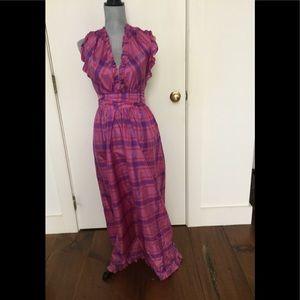 Pretty plaid silk vintage hostess dress
